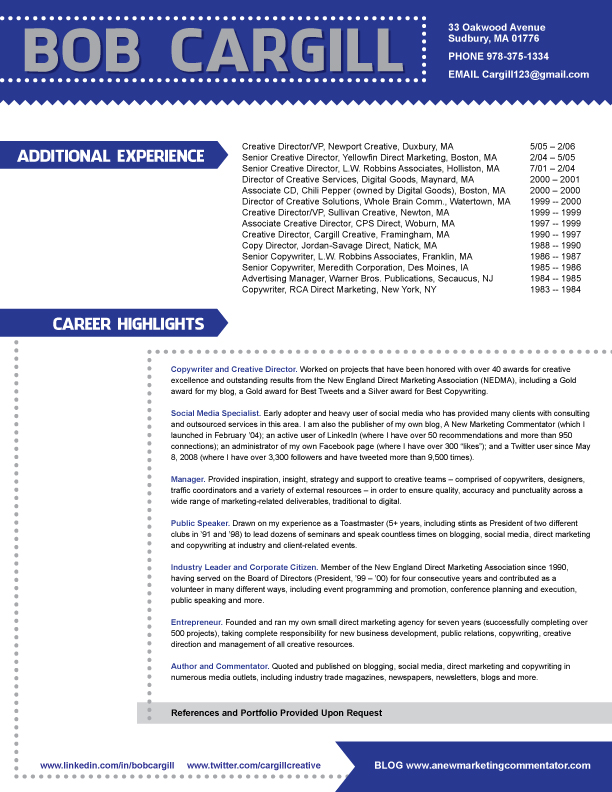 Bob Cargill Resume Page Two