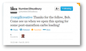 Number 29 Sudbury's Tweet to Bob