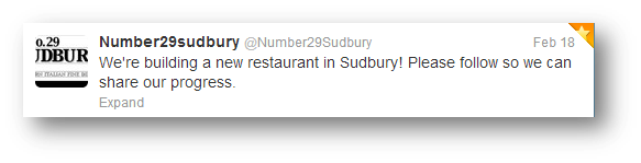 Number 29 Sudbury's Tweet